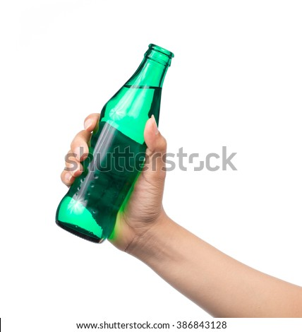 hand holding Glass bottle of aerated soft drink Isolated on white background