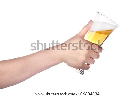 hand holding glass of beer isolated on a white background.making toast - stock photo