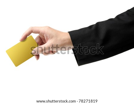 hand holding gold card isolated on white background - stock photo