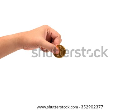 hand holding  gold coins isolated on white