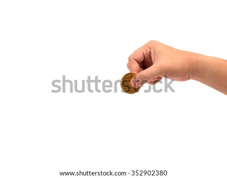 hand holding  gold coins isolated on white - stock photo