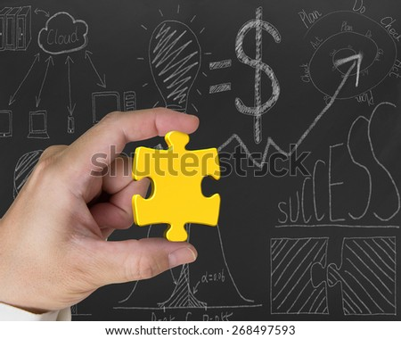 Hand holding gold jigsaw puzzle piece with business concept doodles blackboard background