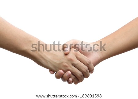 Hand holding hand isolated over white background - Friendship, Business, Handshake, Congratulation - stock photo