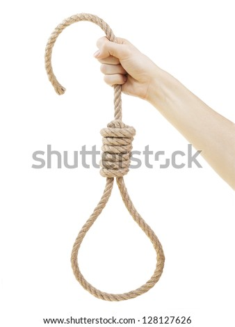 Hand holding hangman noose, isolated on white background.