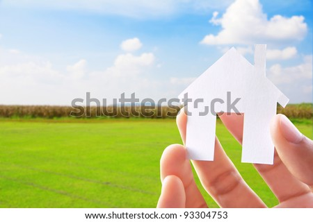 Hand Holding Icon House ,my dream house concept - stock photo