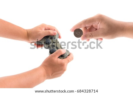 Hand holding joystick coltrol game and hong kong coin isolated on white background.