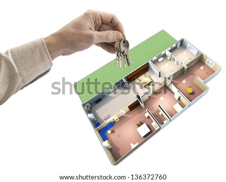 hand holding keys, house map in the background - stock photo