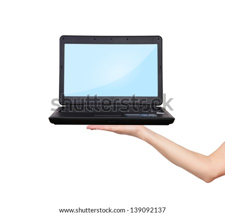 hand holding laptop on a white background