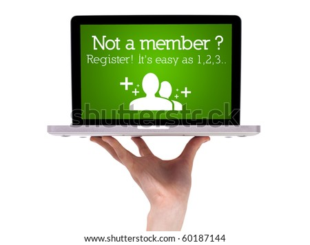 Hand holding laptop with register sign - stock photo