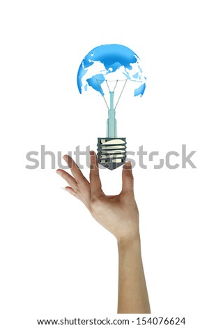 Hand holding light bulb  . concept love the earth. - stock photo