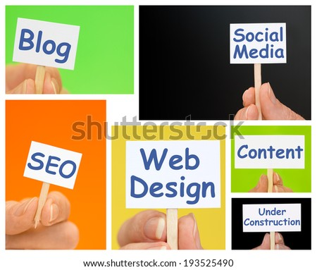 Hand holding Little Signs with Web Design Text - Multiphoto blog content  - stock photo