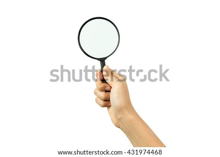 Hand holding magnifying glass isolated on white background with clipping path - stock photo