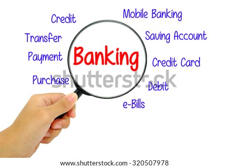 Hand holding magnifying glass with words banking concept.