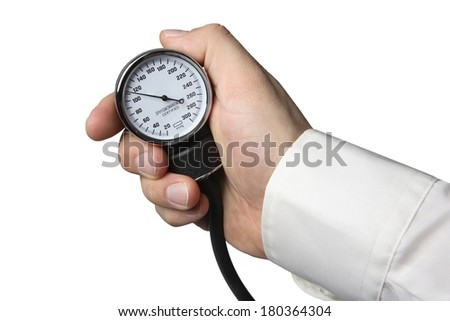 Hand holding medical device on white background - stock photo
