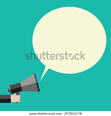 Hand holding megaphone and large speech bubble with copy space. Promotion, marketing, business concept - stock photo
