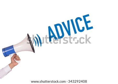 Hand Holding Megaphone with ADVICE Announcement - stock photo