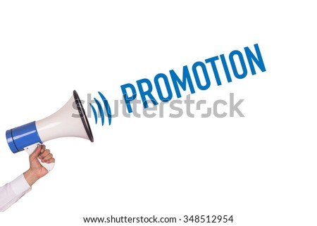 Hand Holding Megaphone with PROMOTION Announcement - stock photo