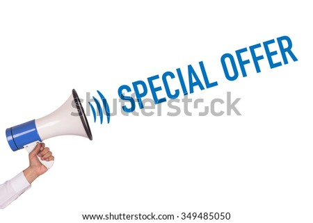 Hand Holding Megaphone with SPECIAL OFFER Announcement - stock photo