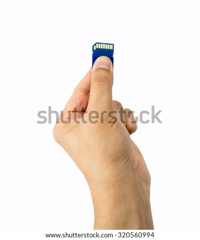 hand holding memory card isolated on white background  - stock photo