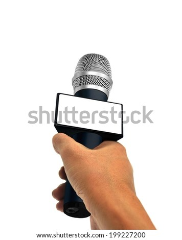 Hand Holding  Microphone - stock photo