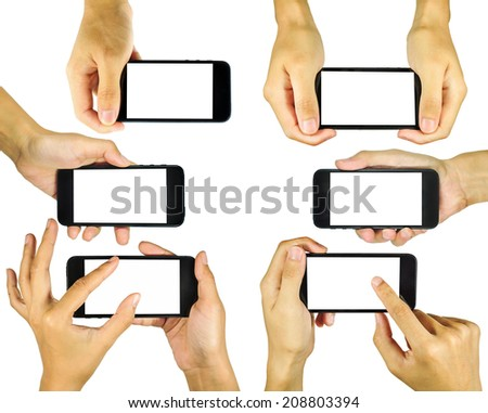 Hand holding mobile phone isolated on white background - stock photo