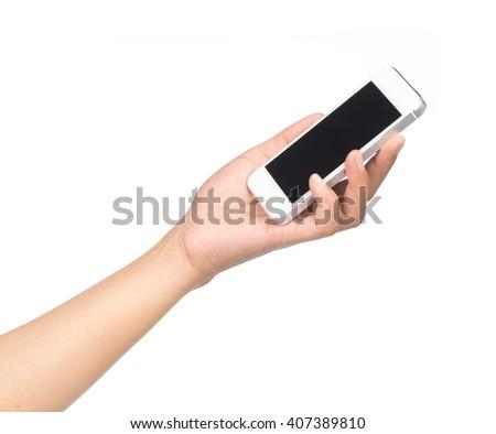 hand holding mobile phone isolated on white background. - stock photo