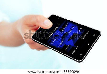 hand holding mobile phone with bank account screen isolated over white background - stock photo