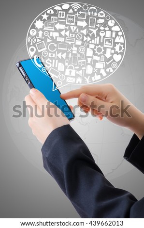 Hand Holding Mobile phone with Business icons and Technology icons for technology and business concept.