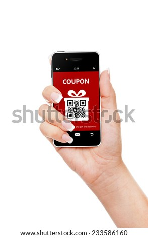hand holding mobile phone with christmas coupon isolated over white background - stock photo