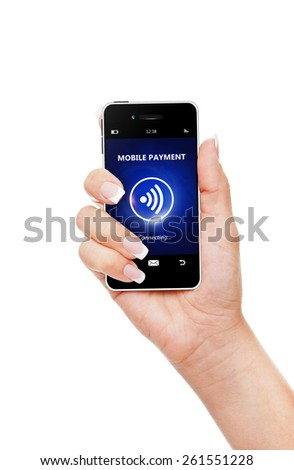hand holding mobile phone with mobile payment isolated over white background - stock photo