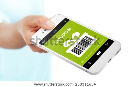 hand holding mobile phone with spring discount coupon isolated over white - stock photo