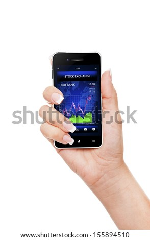 hand holding mobile phone with stock market chart isolated over white background - stock photo