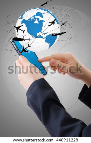 Hand Holding mobile phone with world map globe, Transport and Technology Concept. - stock photo