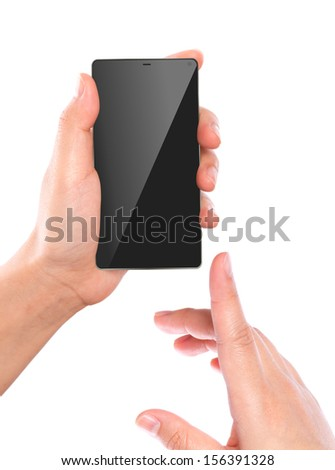 Hand holding mobile smart phone - stock photo
