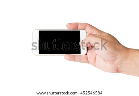 hand holding mobile smart phone and push shutter to take photo with blank screen. Isolated on white.