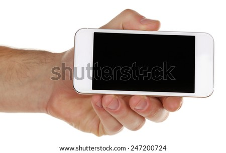 Hand holding mobile smart phone isolated on white - stock photo