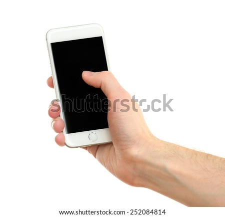 Hand holding mobile smart phone, isolated on white - stock photo