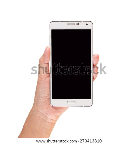 Hand holding mobile smart phone. Isolated on white. - stock photo