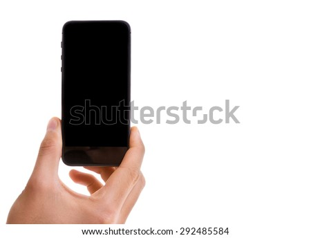 Hand holding mobile smart phone with black screen isolated on white background - stock photo
