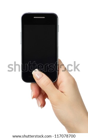 Hand holding mobile smart phone with blank screen - stock photo