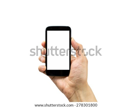 Hand holding mobile smart phone with blank screen isolated on white - stock photo