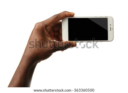 Hand holding mobile smart phone with blank screen, isolated on white - stock photo