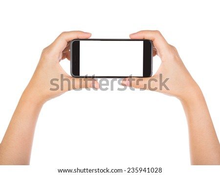 Hand holding mobile smart phone with blank screen Isolated on white background - stock photo