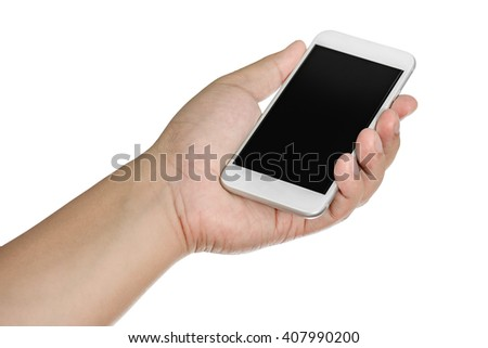 Hand holding mobile smart phone with blank screen. Isolated on white background - stock photo