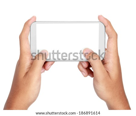 Hand holding mobile smart phone with blank screen. texting or sms. Isolated on white. - stock photo