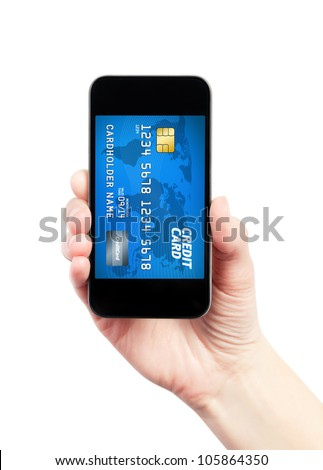 Hand holding mobile smart phone with credit card on a screen. Isolated on white. - stock photo