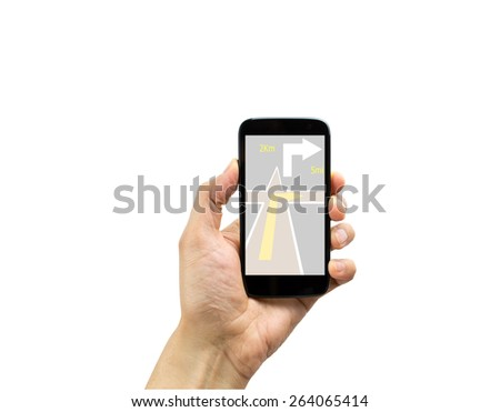 Hand holding mobile smart phone with gps on white background - stock photo