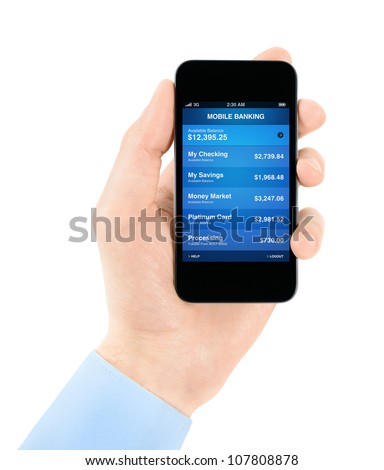 Hand holding mobile smart phone with mobile banking application on a screen. Isolated on white.