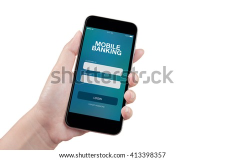 Hand holding mobile smart phone with mobile banking screen on white background, isolated
