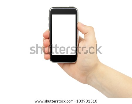 Hand holding mobile with blank screen isolated on white. - stock photo
